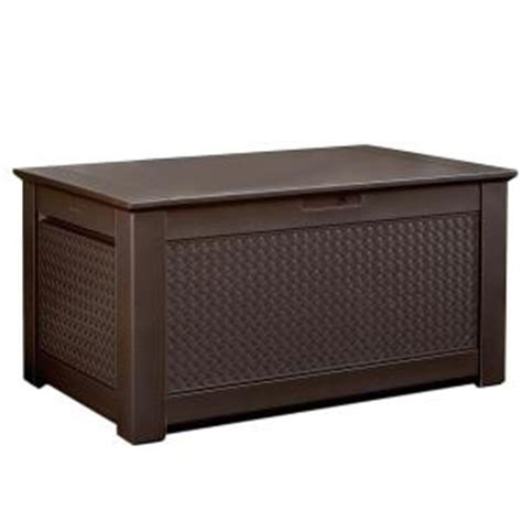 home depot outdoor storage bench rubbermaid 93 gal chic basket weave patio storage bench