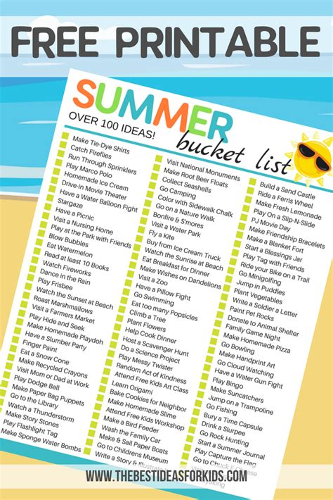 100 simple ideas for a summer list for