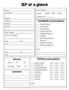 iep at a glance template iep at a glance editable back to school at a glance