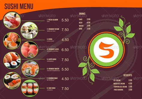 sushi menu template by ragerabbit graphicriver