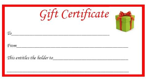 template for alternative gift card free printable gift certificates the diary