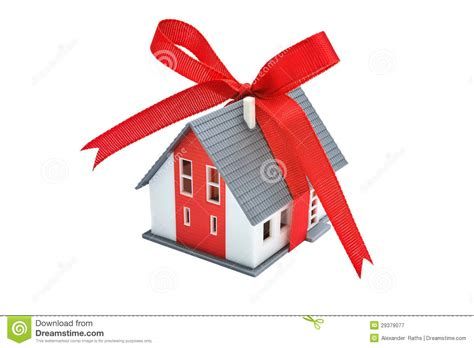 house gift gift house with red ribbon stock image image 29379077