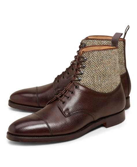 Handmade Dress Boots - handmade brown leather boots tweed fabric boot for