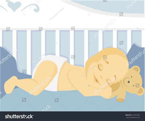 sleeping baby crib stock vector 102972881