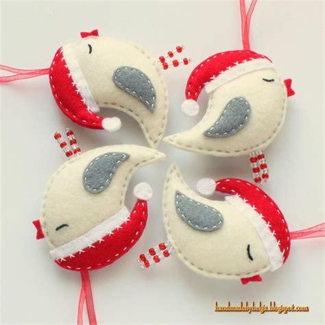 handmade by helga felt birds with santa hats ornaments
