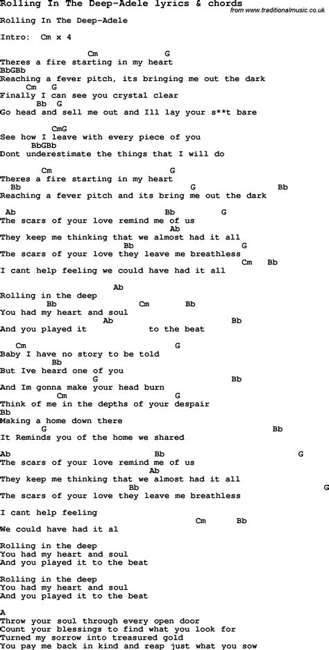 in lyrics song lyrics for rolling in the adele with chords