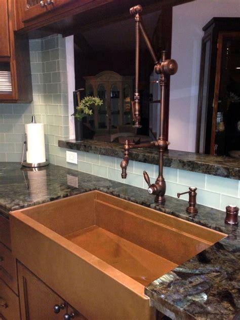 rachiele copper farm sinks copper farmhouse apron front workstatin sink by rachiele