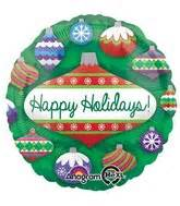 18 Foil Happy Holidays Stripes 17085 Isi 1 bargain balloons 2fwinter mylar balloons and
