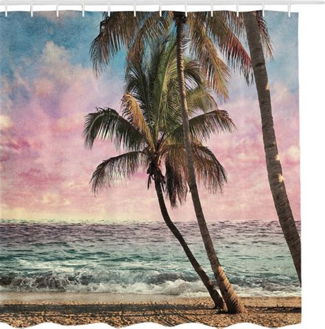 palm tree fabric shower curtain palm trees at sunrise ocean escape fabric shower curtain