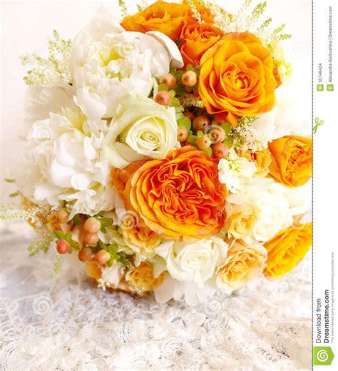 Wedding Background Orange by Vintage Orange Ivory White Wedding Bouquet Stock Images