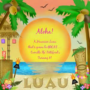 camille s birthday luau invitations cards by pingg