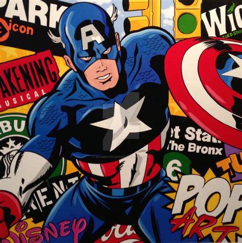 american pop artists boudro pop paintings captain america by boudrostudio