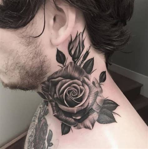 3d black rose tattoos neck 3d flower http tattootodesign