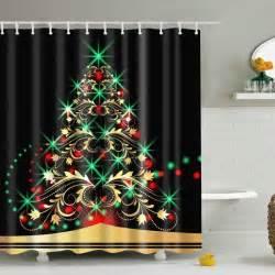 Bath Shower Curtain christmas xmas tree fabric waterproof bath shower curtain