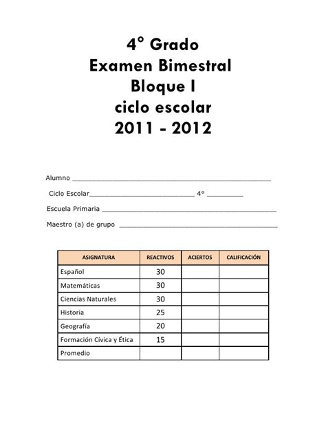 examen del cuarto bimestre de tercer grado 2015 2016 examen primer bimestre 4 186