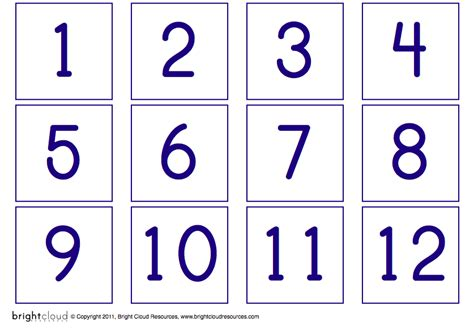 kindergarten printable numbers flashcards 8 best images of printable number flash cards 1 20 free
