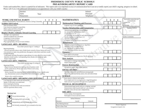 kindergarten report card template report cards