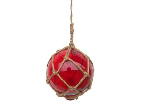 japanese glass red japanese glass ball fishing float with brown netting