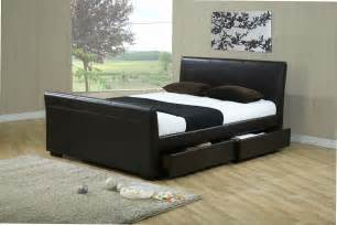 king size sleigh bed with drawers black leather king size sleigh bed frame with drawers