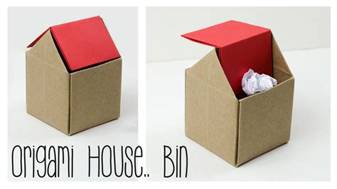How Do You Make A Paper House - origami trash bin tutorial diy paper kawaii