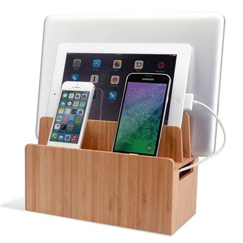 charging station organizer for multiple devices bamboo universal multi device cord organizer stand and
