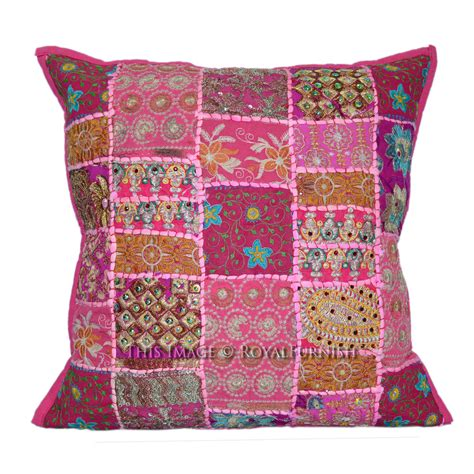 Patchwork Pillow - 50x50 cm patchwork embroidered india accent throw pillow