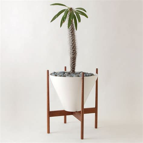 Planter Stands Indoors by Walnut Wooden Stand Modern Indoor Pots And Planters