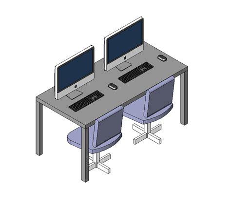 free computer desk computer desk revit model and 3d model cadblocksfree