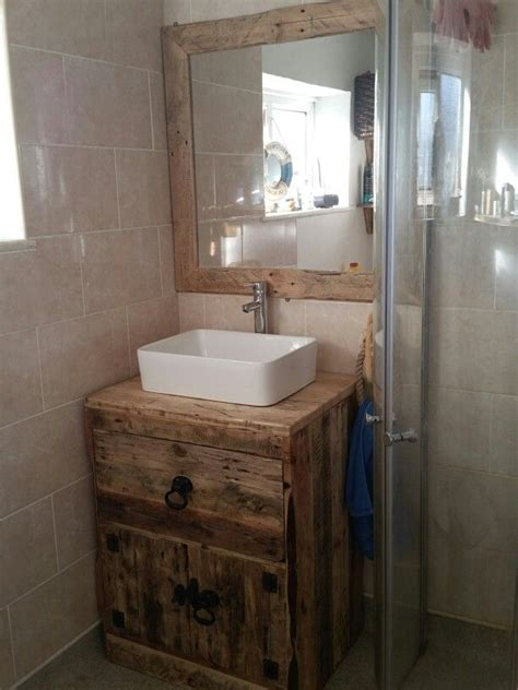 vanity unit made from pallet boards and scaffold boards