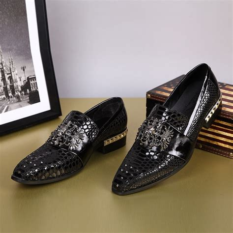 pattern black shoes england style slip on crocodile pattern men shoes black