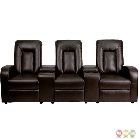reclining seat movie theater eclipse 3 seat reclining brown leather theater seating