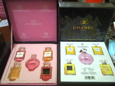 1 Set Parfum jual chanel black box channel kotak kayu hitam set