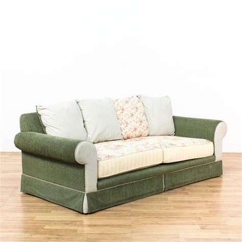 shabby chic multi colored upholstered sofa loveseat