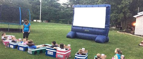 backyard drive in aunt creates elaborate backyard drive in theater for the kids in her family