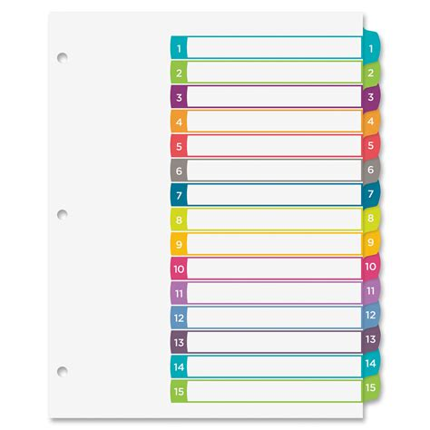 10 tab divider template avery ready index customizable table of contents
