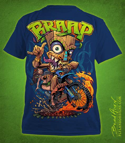 T Shirt 00928 Fly Rider tiki motocross rider t shirt illustration flyland