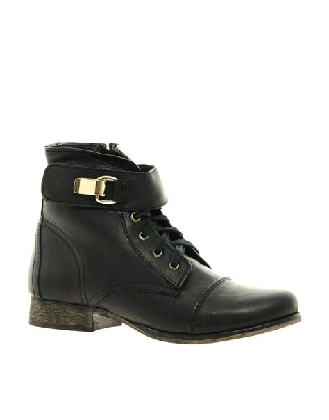 madden boots black lyst steve madden tennasee leather lace up ankle boots