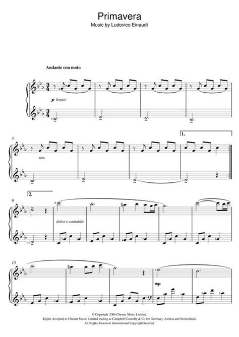 tutorial piano primavera primavera sheet music by ludovico einaudi piano 121281