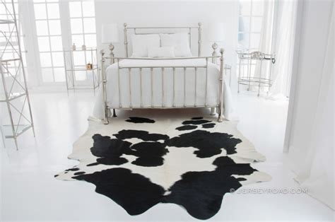 cowhide rug bedroom black white cowhide rug by jersey road contemporary