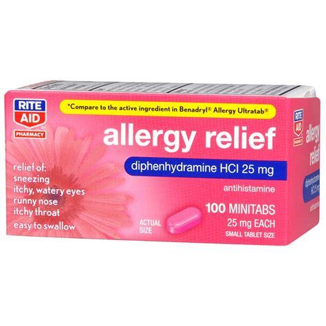 allergy medicine rite aid pharmacy allergy medicine complete 25 mg tablets 100 tablets rite aid