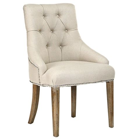 Linen Tufted Dining Chairs Anneau Linen Tufted Nail Vanity Dining Chair Kathy Kuo Home