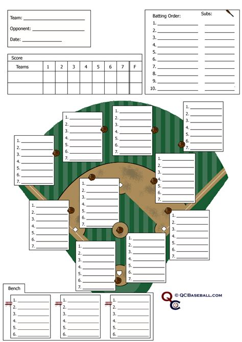 Lineup Card Template For Softball by Soft Softball Defensive Lineup Card