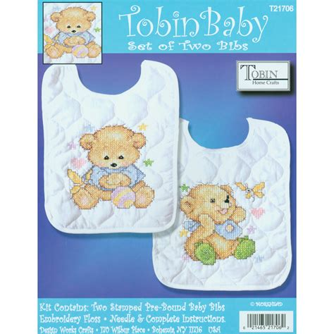 Set Overall Baby Bears tobin baby bears bib pair sted cross stitch kit set of