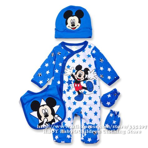 Hoodie Mickey Boy Cloth brand d 4pcs set mickey mouse baby clothing sets boys rompers bodysuits overalls bibs gloves