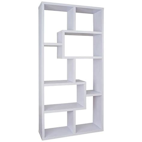 Open Bookshelf White Reena White Wood Open Geometric Bookcase 1v991 Www