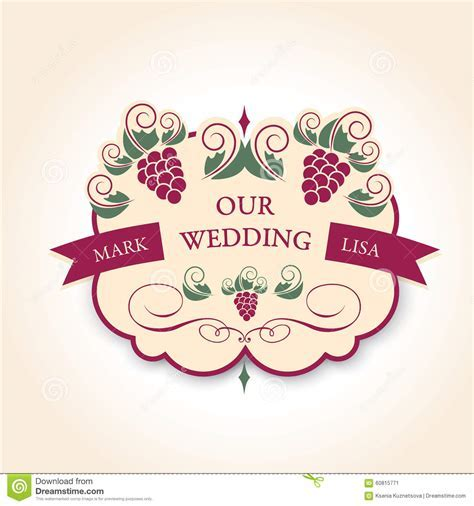 Template Wedding Badge In Vintage Style. Ideal For