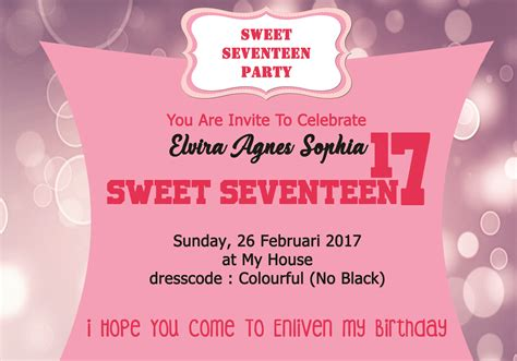 membuat undangan sweet seventeen invitation ulang tahun images invitation sle and