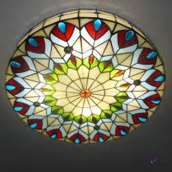16 inch shade peacock stained glass 3 light