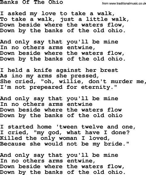 banks lyrics joan baez song banks of the ohio lyrics