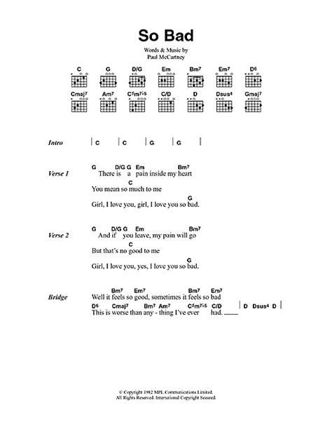 lyrics mccartney so bad sheet by paul mccartney lyrics chords
